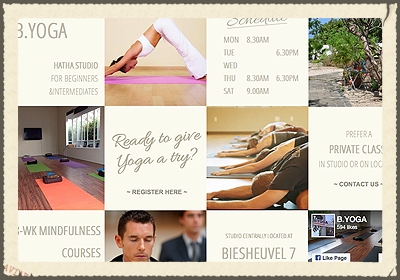 BE YOGA  Our Viniyoga lineage style Hatha Yoga classes are based on the classic and ancient practices taught by Sri T. Krishnamacharya ,  with attention to alignment and the deeper layers of yoga. Our classes are  generally well suited for beginners of all ages.   http://www.beyogacuracao.com/home.html