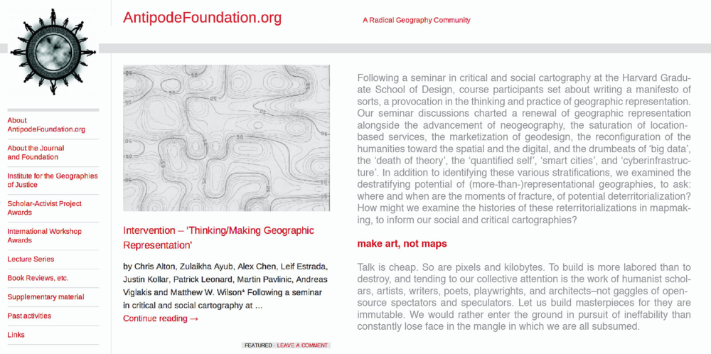 Intervention – 'Thinking/Making Geographic Representation' (Antipode Foundation)