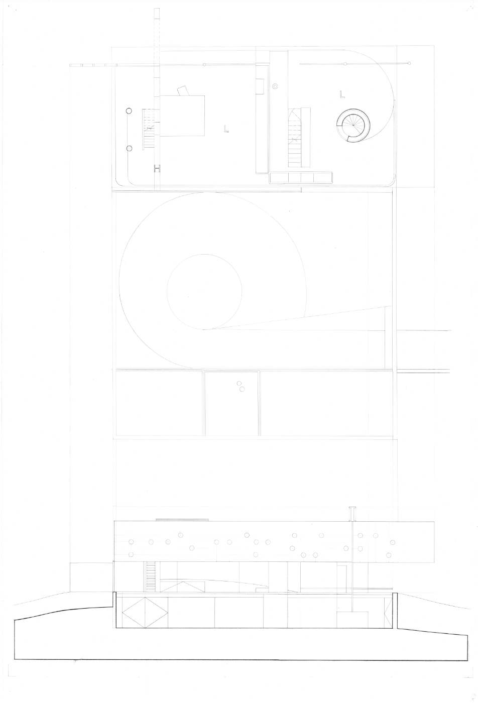 Second Floor Plan; Longitudinal Section