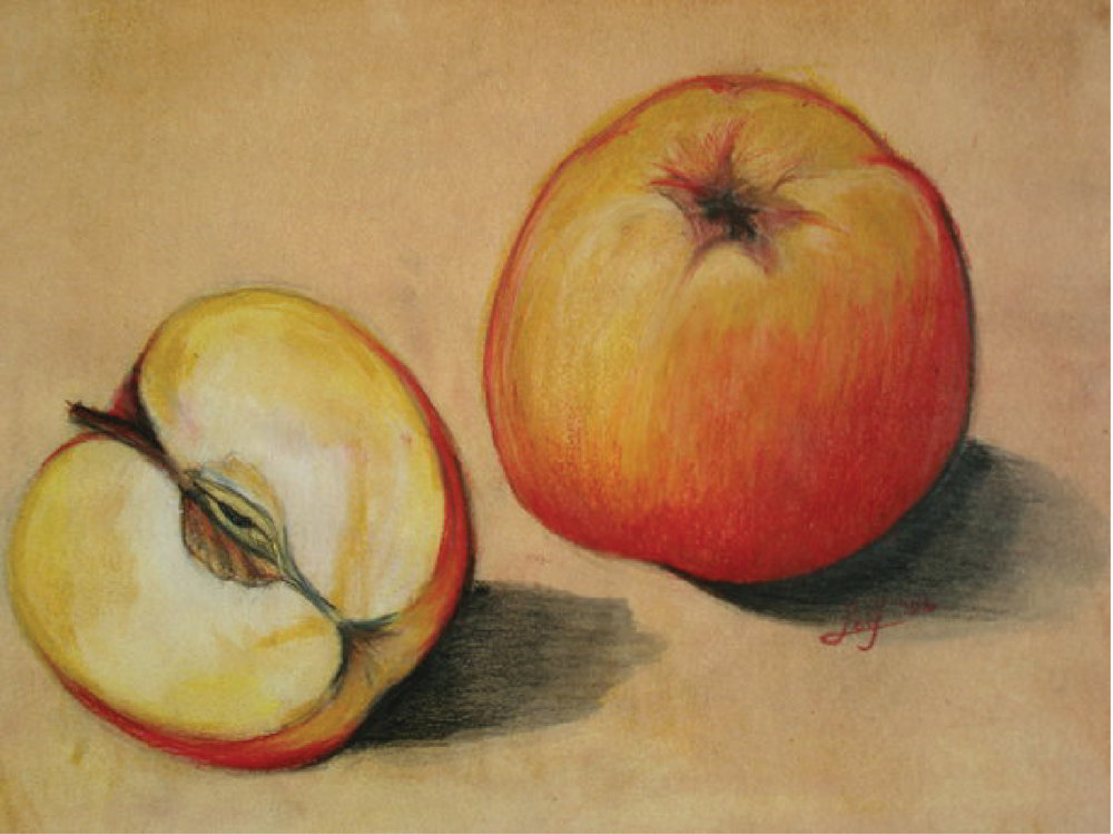 Apples (still life), mixed media: watercolor, ink, oils, and colored pencils, 2006