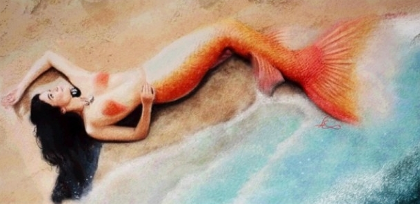 Mermaid, pastels, 2014