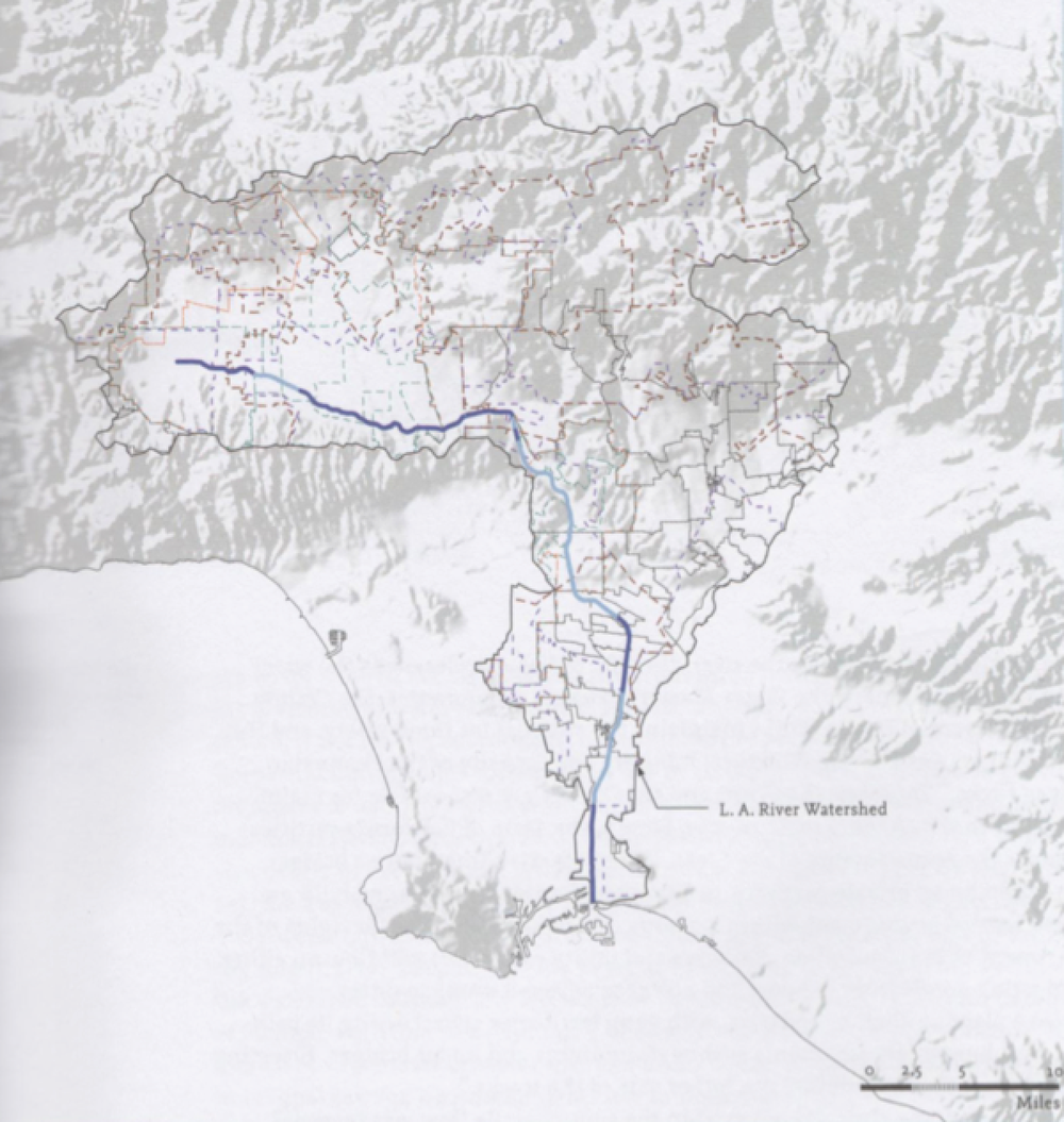 Fig. 4: David Fletcher, LA River Watershed, 2008, digital mapping, Actar, Barcelona.