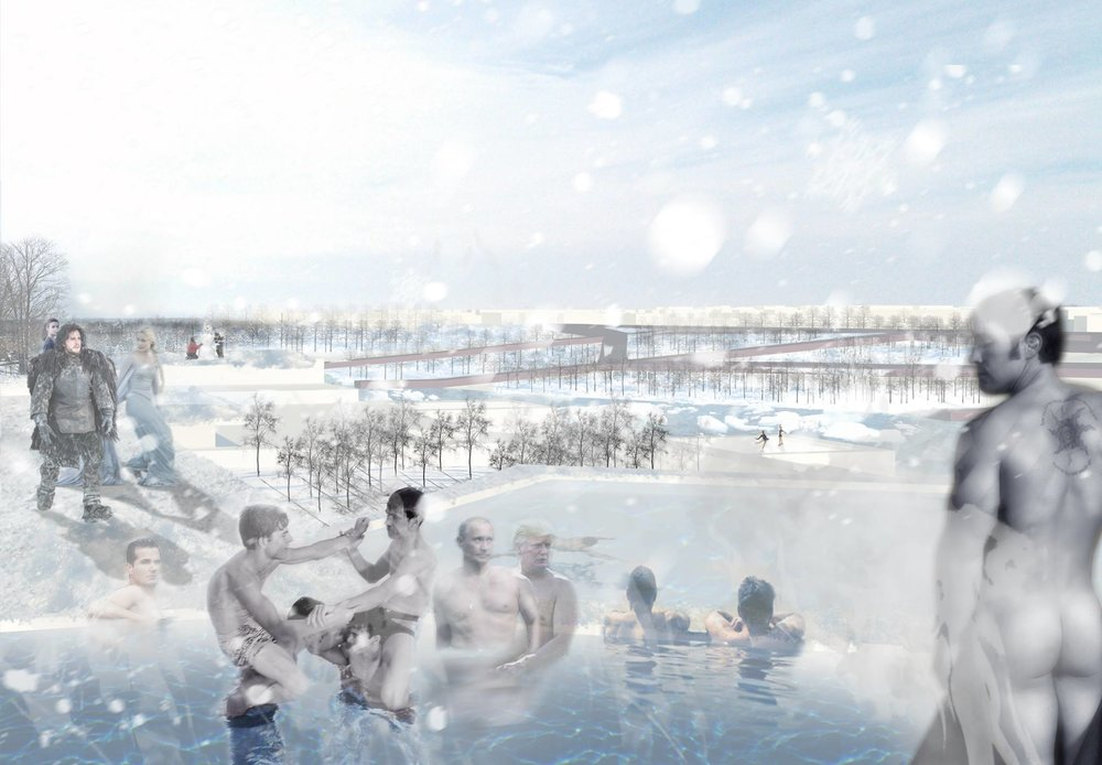 Rendered Perspective showing the winter baths along the Moscow River