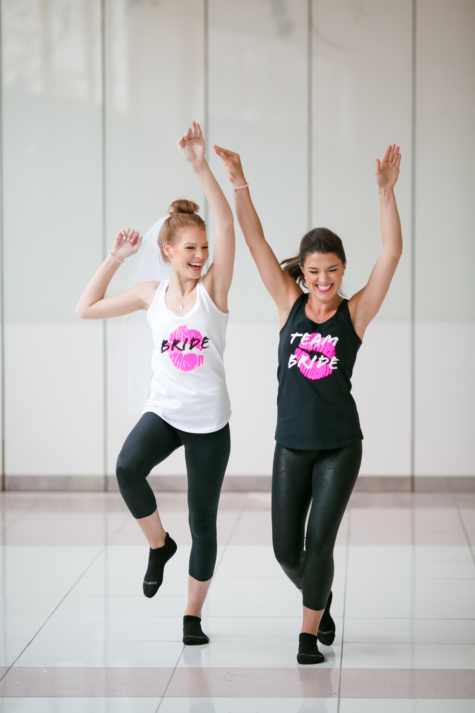 bachelorette fitness party matching bridal tanks