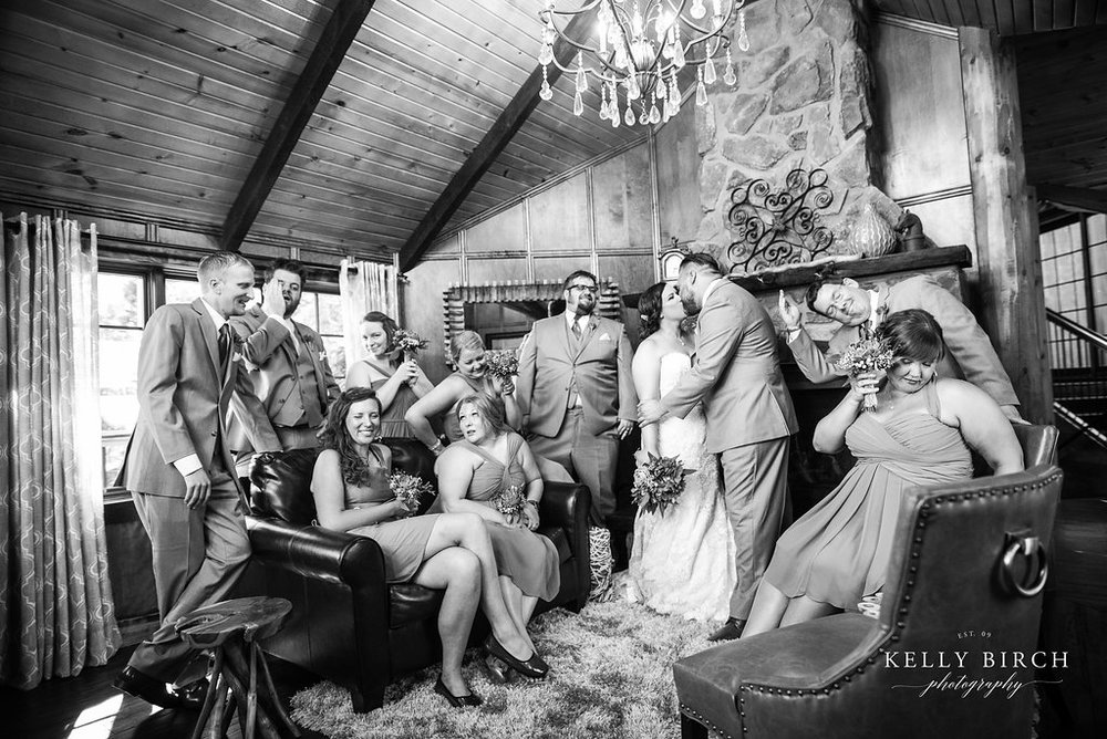 wedding party in a tree house - bridal party goofy photo