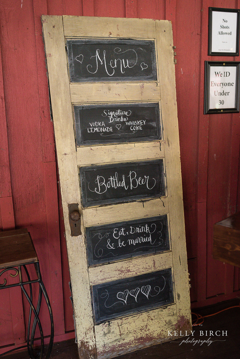 Wedding door chalkboard sign by A Vintage Touch