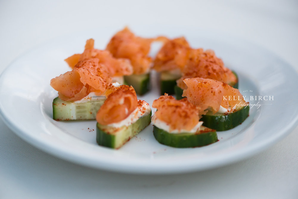 Mini cucumber salmon appetizer for wedding cocktail hour | photo by Kelly Birch Photography