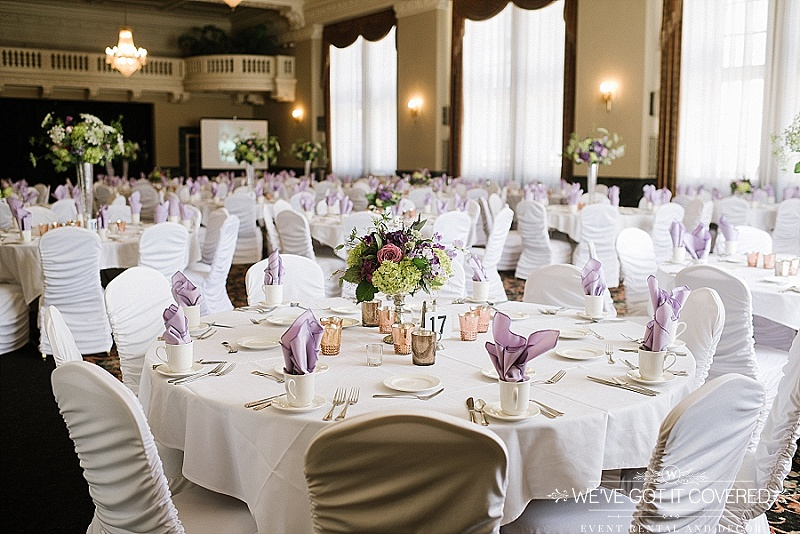 Lilac light purple | flame fold in coffee cup | We've Got it Covered | White ruched chair covers | copper mercury votives | wedding and event decor | white table linens