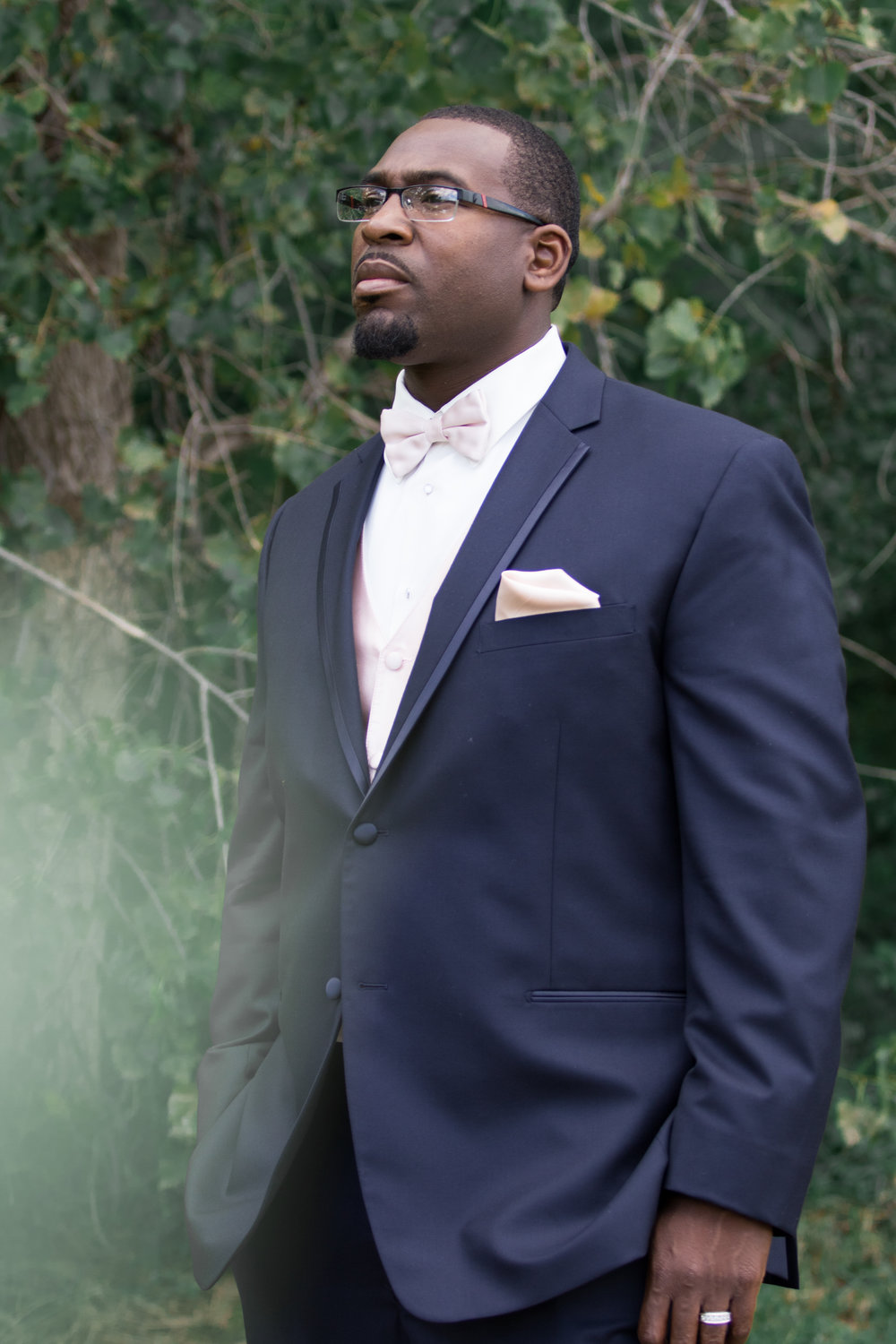 Groom waiting for his bride, first look, navy suit, light pink vest, bow tie and pocket square | Tigerlily Photography