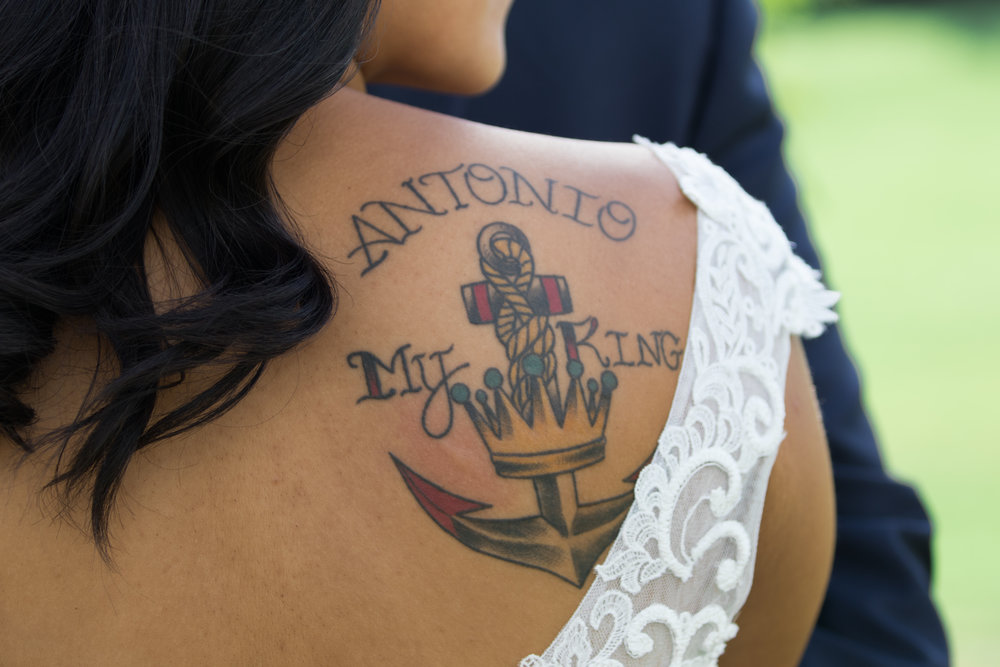 My king nautical tattoo, bride with tattoos | Tigerlily Photography