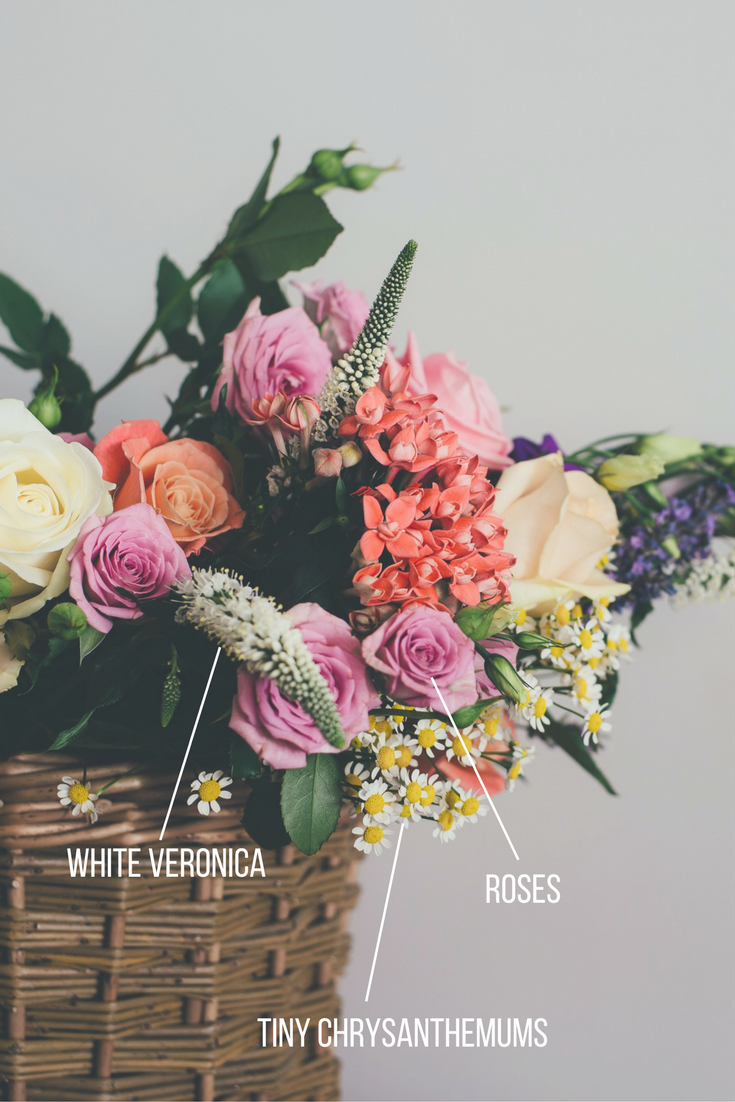 name that flower | Sixpence Events & Planning | white veronica, roses, tiny chrysanthemums