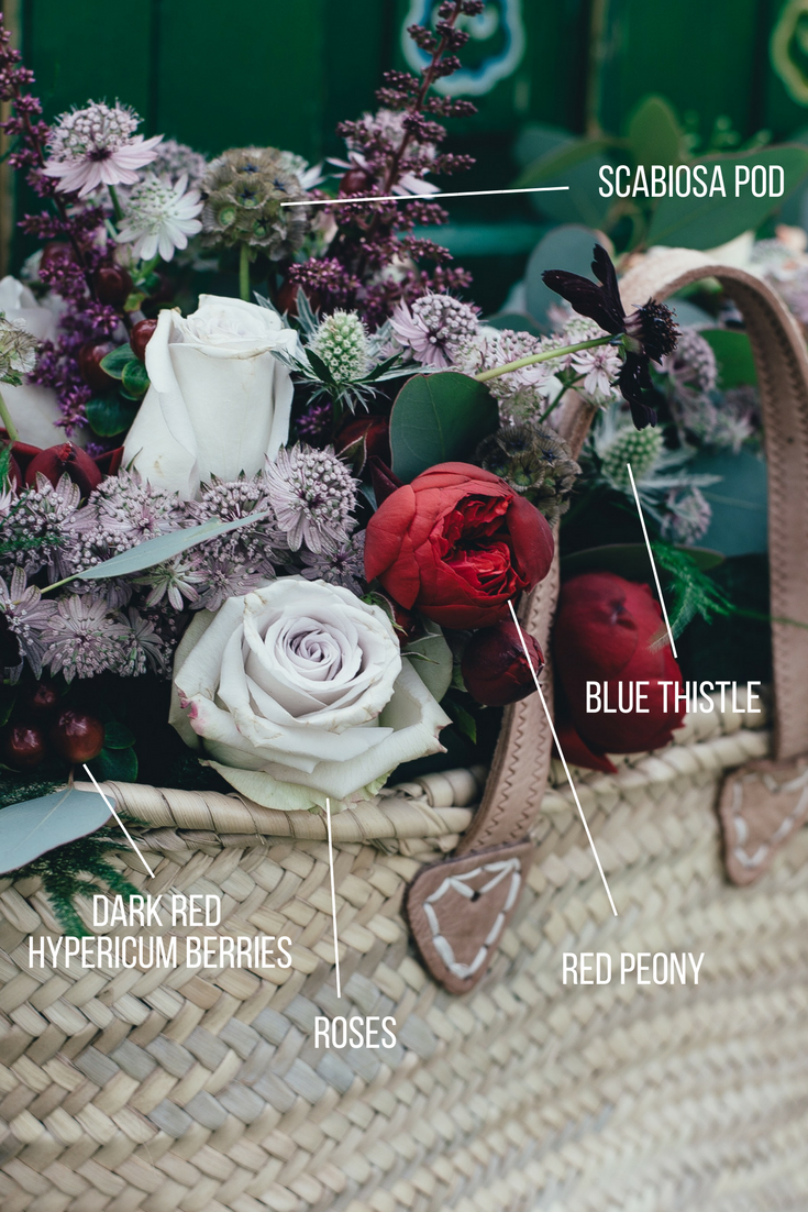 name that flower | Sixpence Events & Planning | scabiosa pods, blue thistle, red peony, dark red hypericum berries, roses