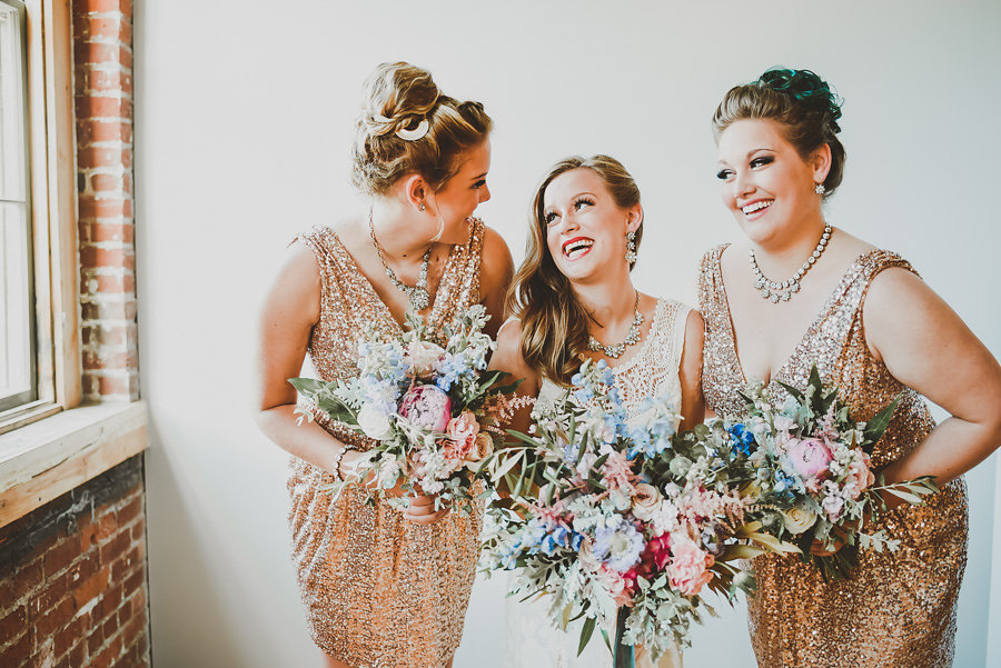 wedding sisters in your wedding party | gold sequin bridesmaids dresses | Ali Leigh Photography | Sixpence Events & Planning