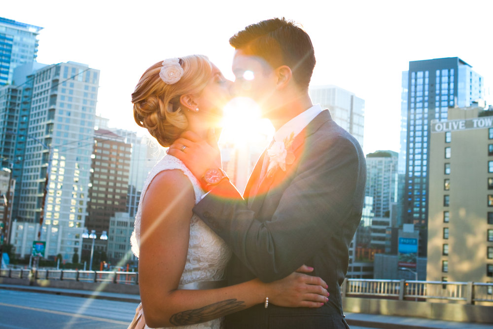 Mark Fierst Minneapolis Photography | Sixpence Standard Blog Post | golden hour wedding photo with the city in the background