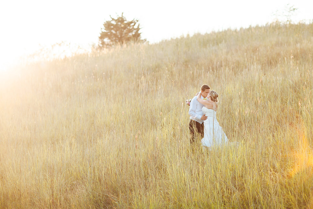 Alyssa Lee Minneapolis Wedding Photographer | Sixpence Standard wedding blog | bride and groom kissing in a field of grassy hill