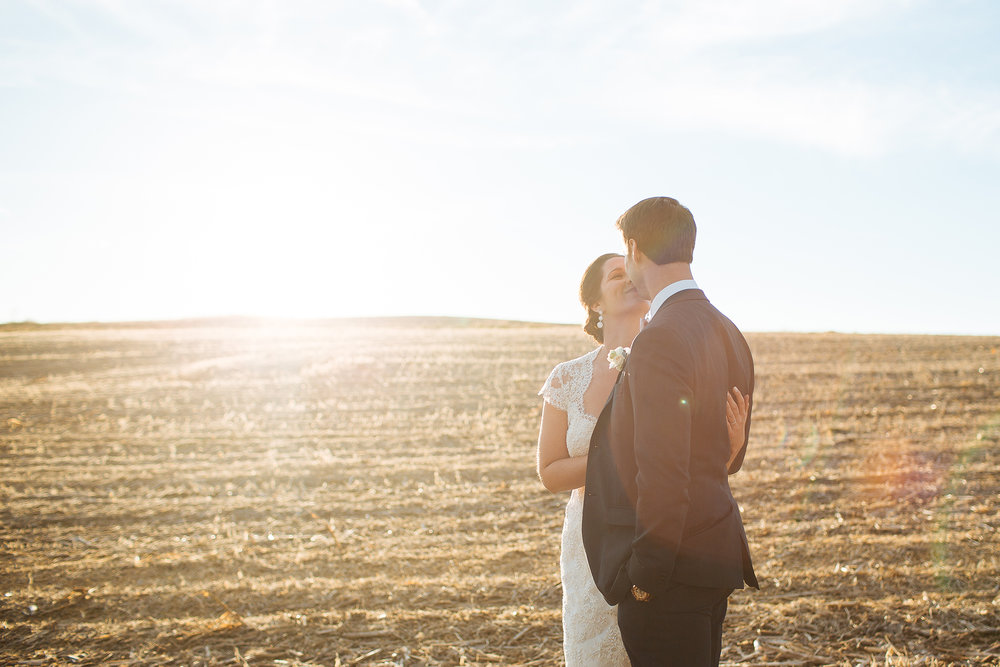 Alyssa Lee Minneapolis Wedding Photographer | Sixpence Standard wedding blog | bride and groom kissing with a plowed field in the background