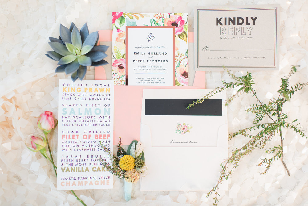 Blog by Sixpence | salmon, blush, light blue, orange, sage invitation suite
