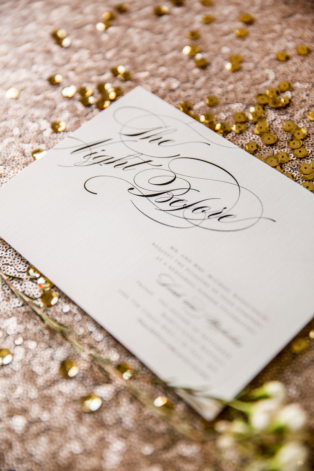 Champagne press rose gold calligraphy design on an antique platter