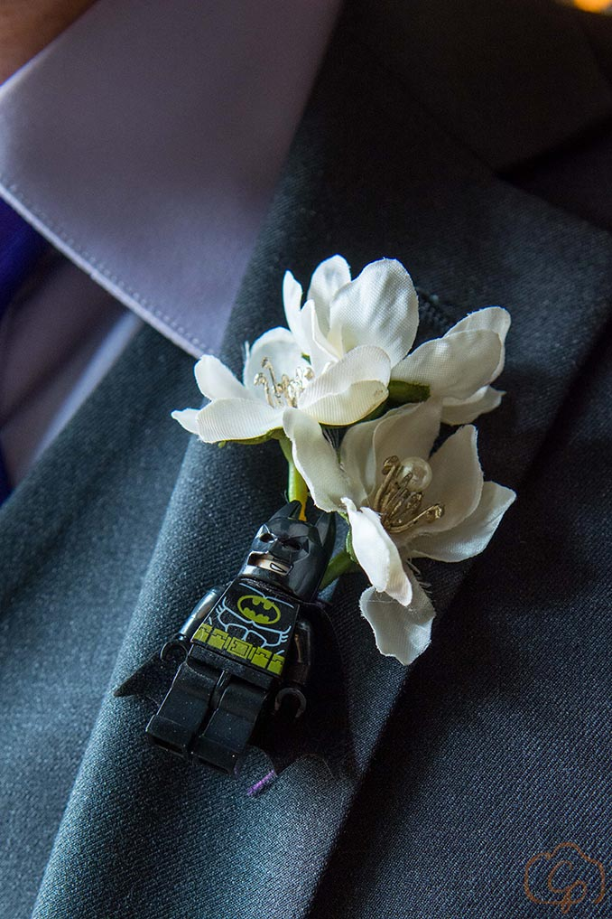 Lego superhero boutonniere | Groom is batman | Coppersmith Photography | Unique boutonniere idea for groom