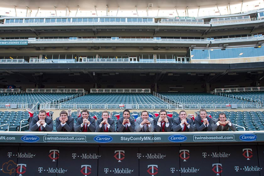 Wedding Party at the Twins Stadium stadium on top of the dugout | Coppersmith Photography | How to Pack Personality into Your Wedding Sixpence Standard blog