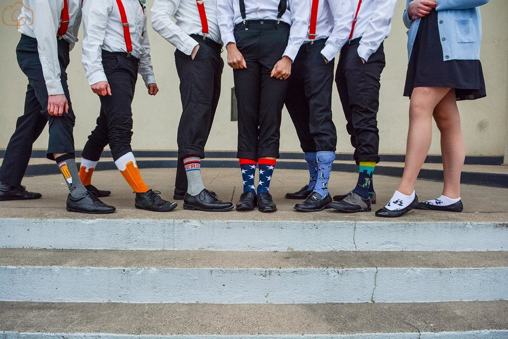 Crazy grooms socks (and a groomswoman) | Coppersmith Photography | Wedding blog by Sixpence Events & Planning