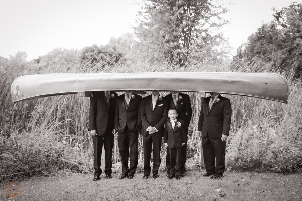 Head in a canoe grooms men photo | Coppersmith Photography