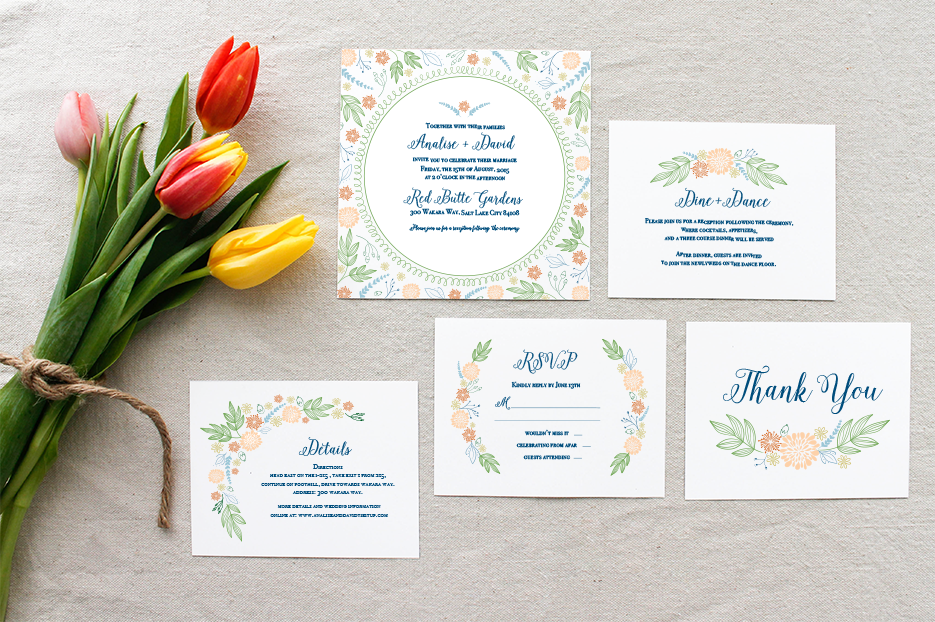 Lynn and Lou wedding paper | Sixpence Minneapolis wedding planner | Pantone color of the year greenery