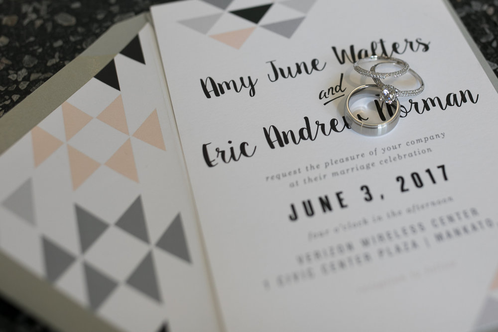 Ginger P Design | Wedding rings on the invite | geo design | envelope liner