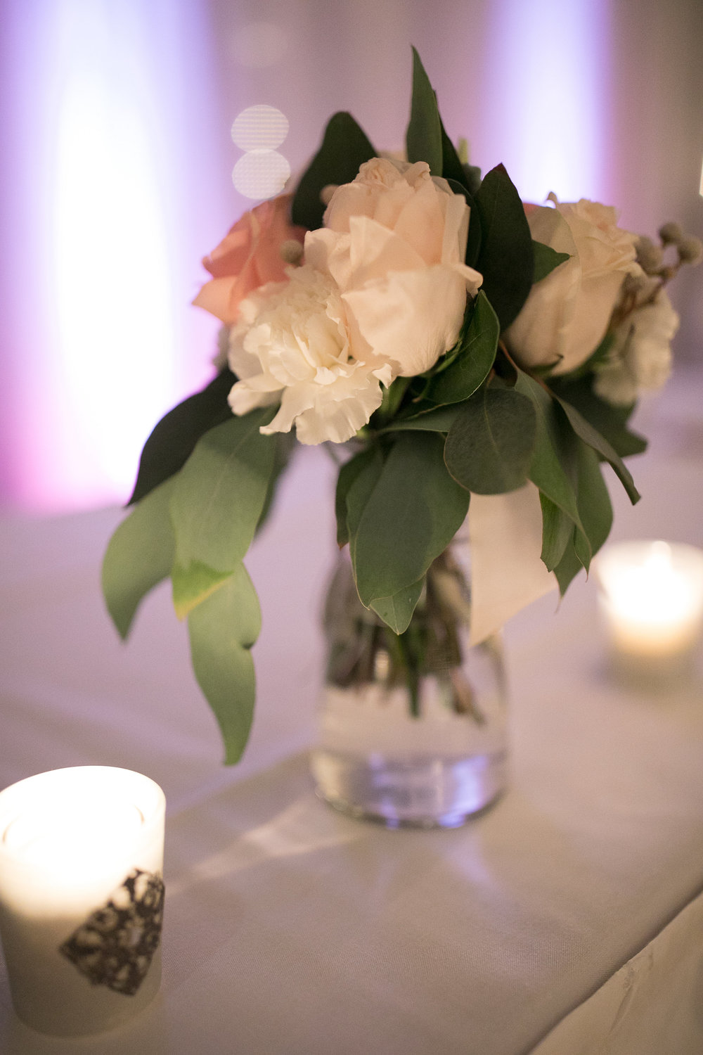 Budding Creations peony centerpiece | Uplighting | Alice HQ Photography