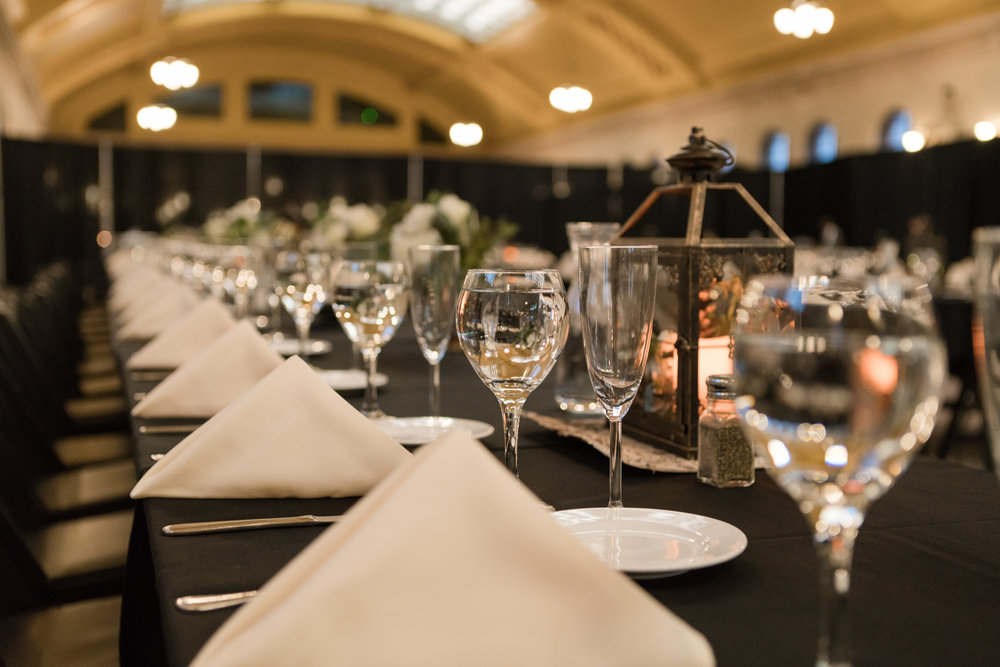 black table linen with white napkins and black lanterns | Union Depot  | Sixpence Events & Planning | Jessa Anderson Photography | winter wedding