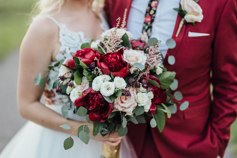 garden roses | peonies red | silver dollar eucalyptus | astilbe bridal bouquet | Aaron T Photography | Nicolett Island | Sixpence Events and Planning day of coordinating and wedding blog