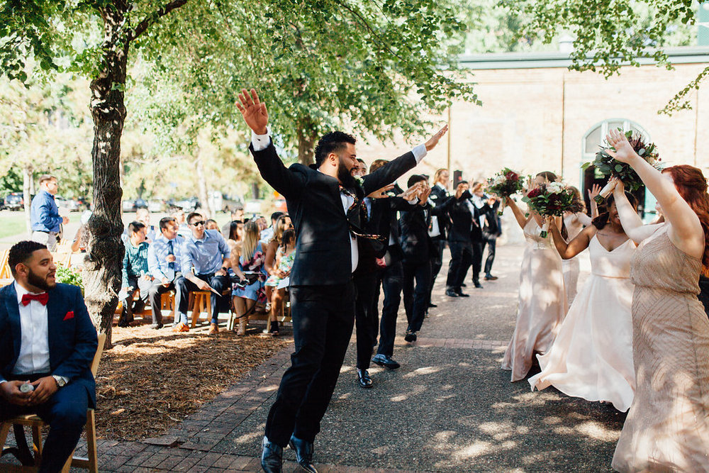 the office wedding processional | forever song | Aaron T Photography | Nicollet Island Pavilion | Sixpence Events & Planning wedding blog
