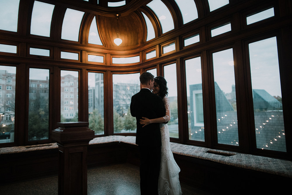 Bride and groom photo in the American Swedish Institute | Turnblad Mansion | sunset private dance  | Brian Bossany Photography | Sixpence Events & Planning wedding blog and day of coordinating