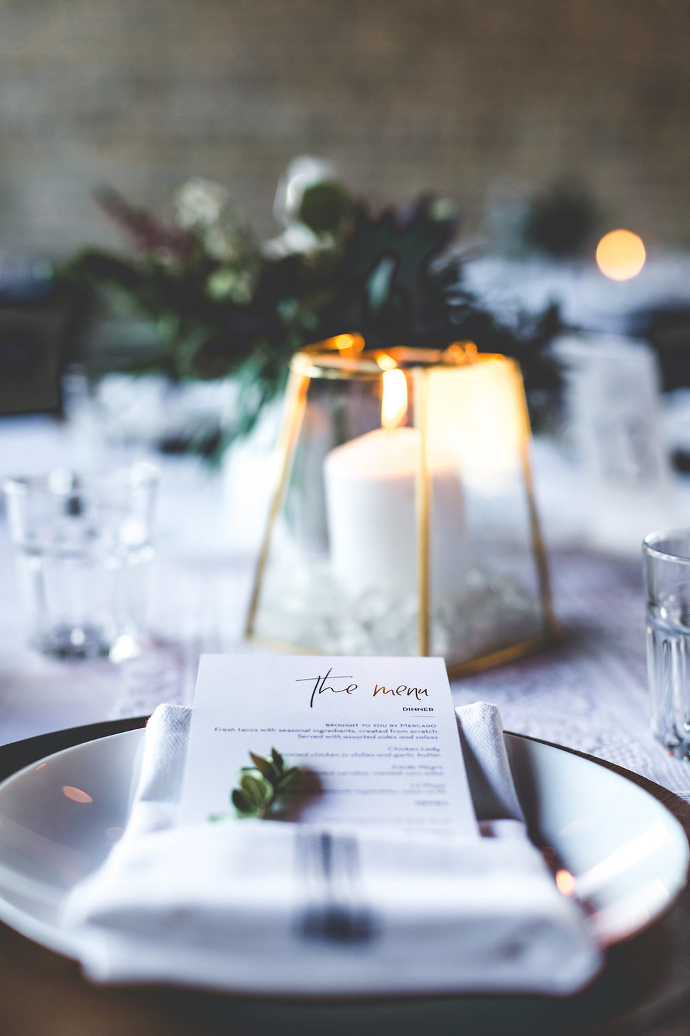 Aaron Rice Photography | Annunciation Ceremony | Day Block Wedding Reception | Sixpence Events and Planning Minnesota Wedding planner | wood charger | rosemary in the napkin | kitchen napkin | menu fold napkin | geometric pillar candle | table deco DIY