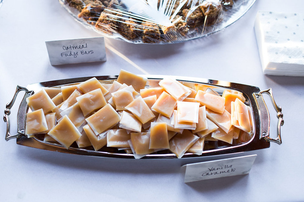 homemade caramels | wedding dessert bar | sixpence events | Aaron Rice Photo