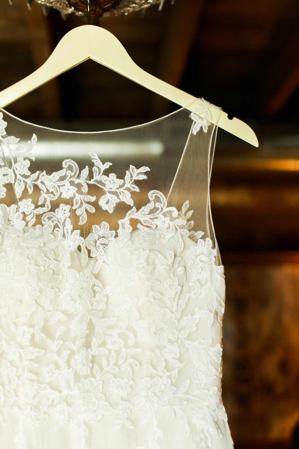 Jenna Kevin Wedding | Hannah Schmitt Photography | Legacy Hill Farm | dress details | lace sheer top wedding |