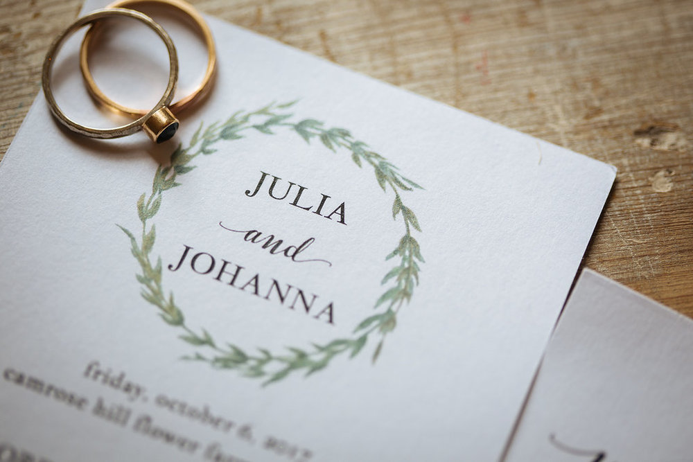 Julia + Johanna | Alyssa Lee Photography | Camrose Hill Flower Studio | details image | program and rings detail shot | simple and beautiful ring