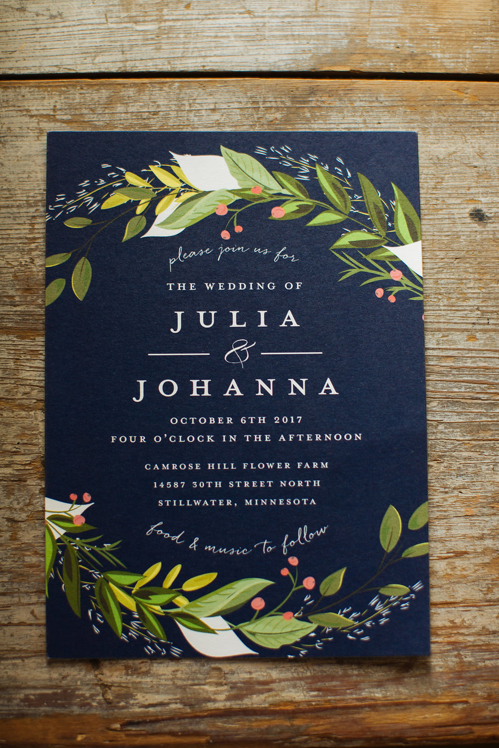 Julia + Johanna | Alyssa Lee Photography | Camrose Hill Flower Studio | Sixpence Events and Planning day of coordinating | wedding invitation navy with wreath and orange berries