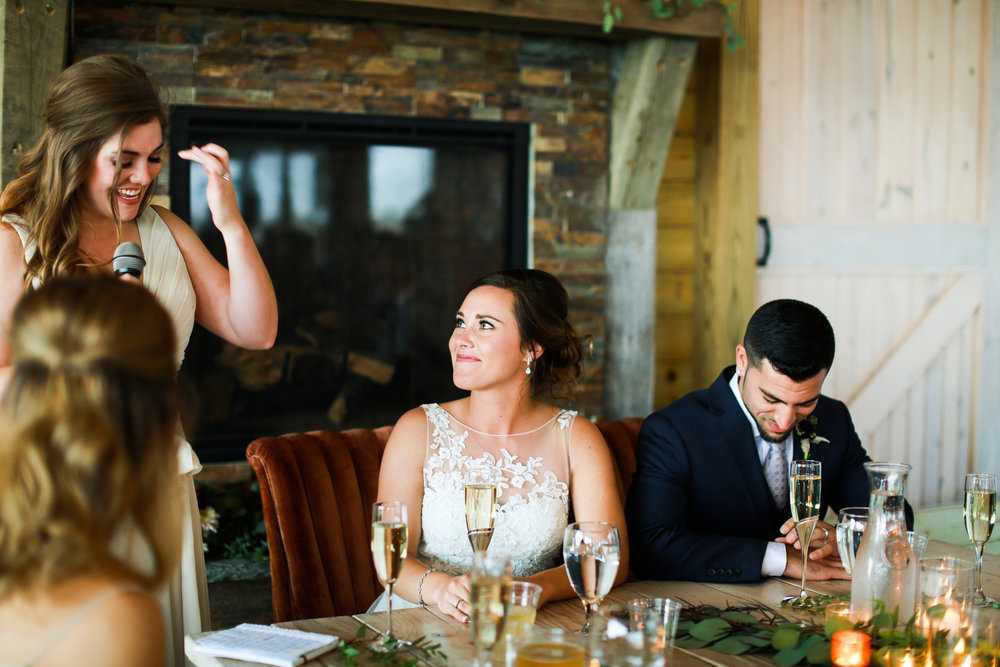 Jenna Kevin Wedding | Sixpence Events day of coordinating | Hannah Schmitt Photography | Legacy Hill Farm | toasts