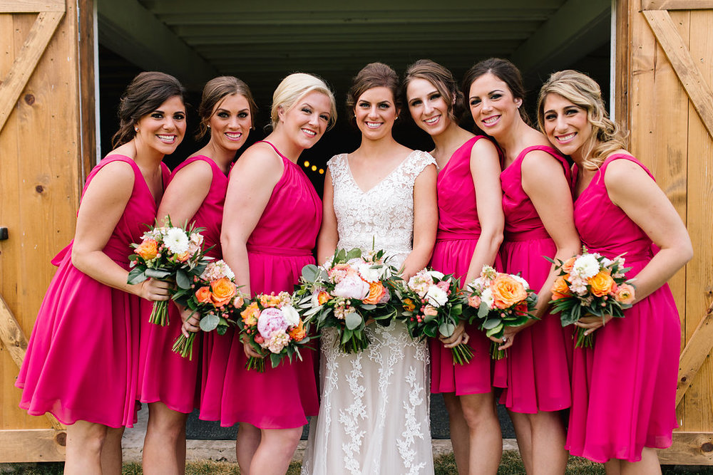 Jade and Seth Bloom Lake Barn wedding | Allison Hopperstad Photography | A Vintage Touch Weddings planning nad design | Day of Coordinating by Sixpence Events | bridesmaids in hot pink | bridesmaids picture