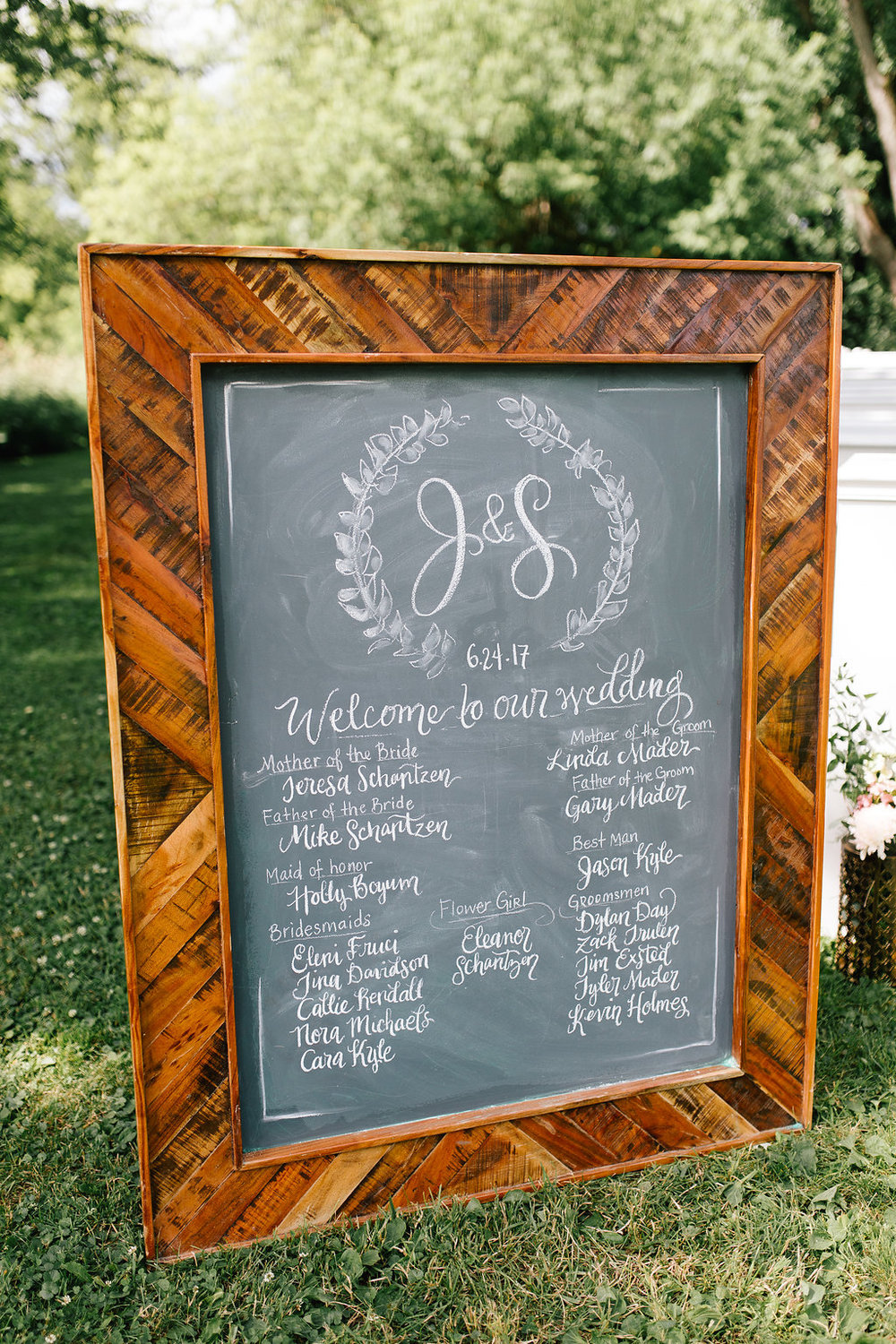 Jade and Seth Bloom Lake Barn wedding | Allison Hopperstad Photography | A Vintage Touch Weddings planning nad design | Day of Coordinating by Sixpence Events | welcome program sign with wedding party