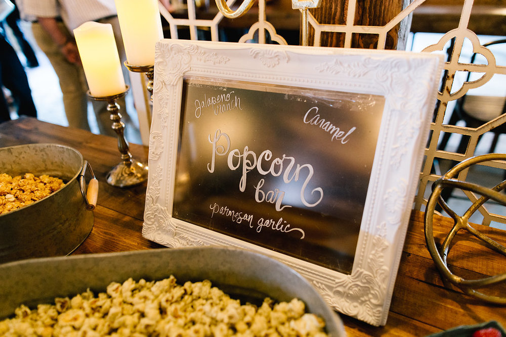 Jade and Seth Bloom Lake Barn wedding | Allison Hopperstad Photography | A Vintage Touch Weddings planning nad design | Day of Coordinating by Sixpence Events | popcorn bar