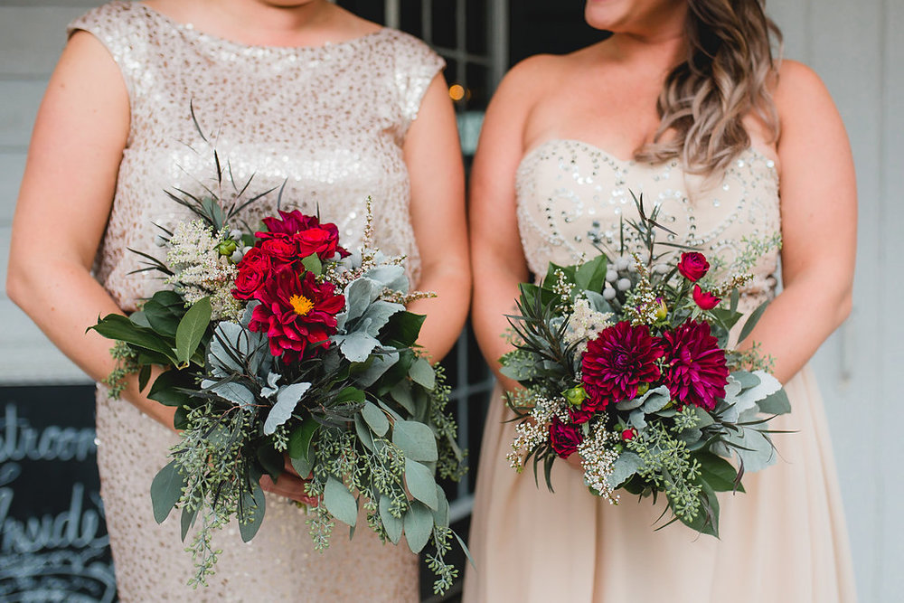 Leslee & Billy | Legacy Hill Farm Wedding | Aqua Fox Photography | A Vintage Touch Wedding Planning | Sixpence Events & Planning day of coordinating | astilbe with seeded eucalyptus and dusty miller with dahlias and spray roses with brunia balls from The Cutting Garden | bridesmaids in pink sparkly dresses