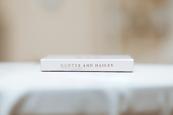Hailey and Hunter | Alyssa Lee Photography | Sixpence Events & Planning | classic white with gold embossing guest book