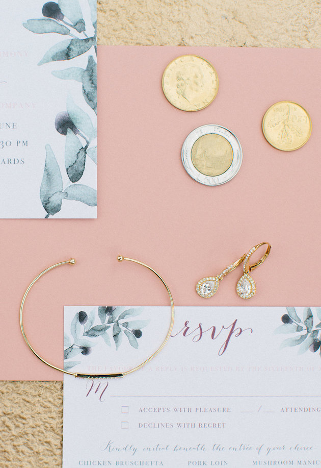 Nicole + Luke | Villa Bellezza | Kristina Lorraine Photo |  gold tray with wedding stationery details, gold hair band, mrs box, italian coins, envelope liner