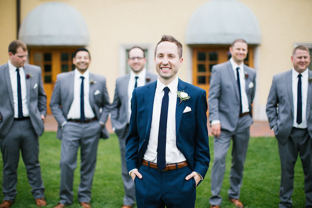 Nicole + Luke | Villa Bellezza | Kristina Lorraine Photo | groom with navy suite and groomsmen in gray