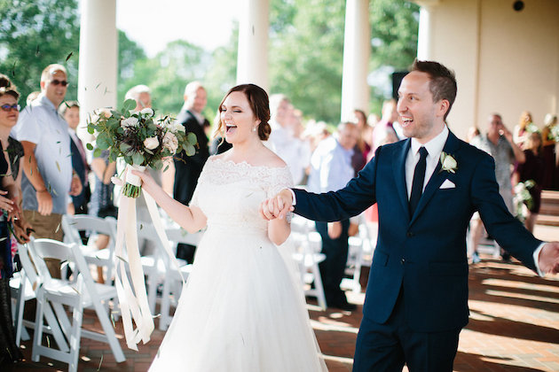 just married recessional | bouquet with ribbons | Nicole + Luke | Villa Bellezza | Kristina Lorraine Photo35.jpg