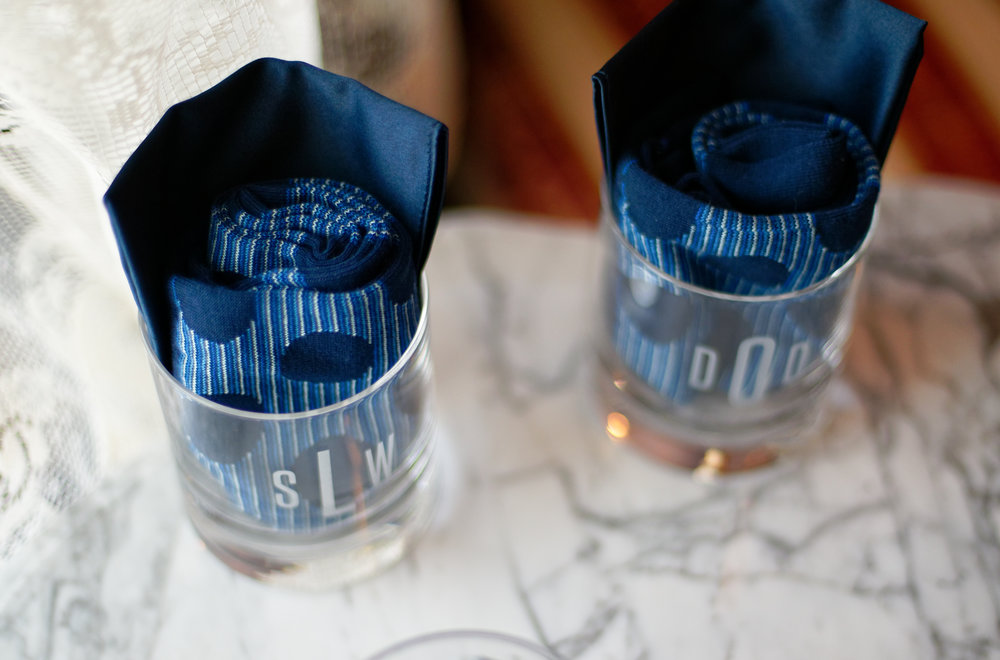Lauren and Cameron | Historic Concord Exchange | La French Touch Photography | Sixpence Events & Planning day of coordinating | groomsmen gift tumbler with initials, pocket square and socks
