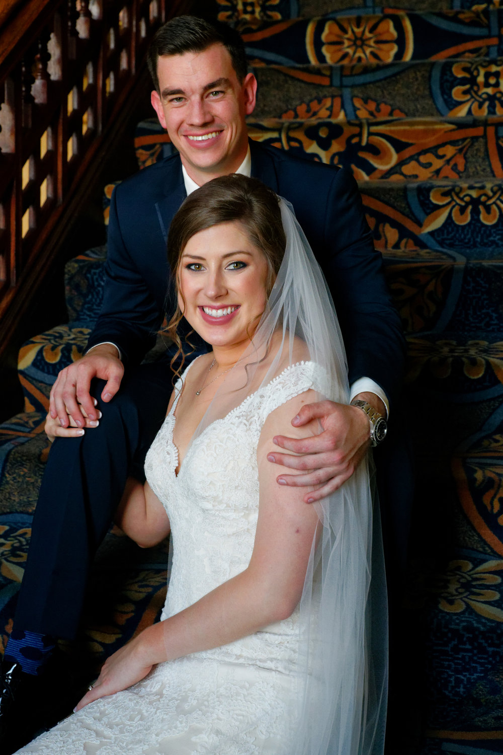 Lauren and Cameron | Historic Concord Exchange | La French Touch Photography | Sixpence Events & Planning day of coordinating | bride and groom portrait on the stairs