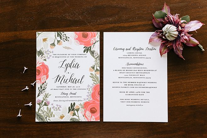 Lydia + Michael Sixpence Events day of coordinating client | Loring Social | Kate Becker Photography | Mann Frau Videography | Minted wedding stationery | clematis